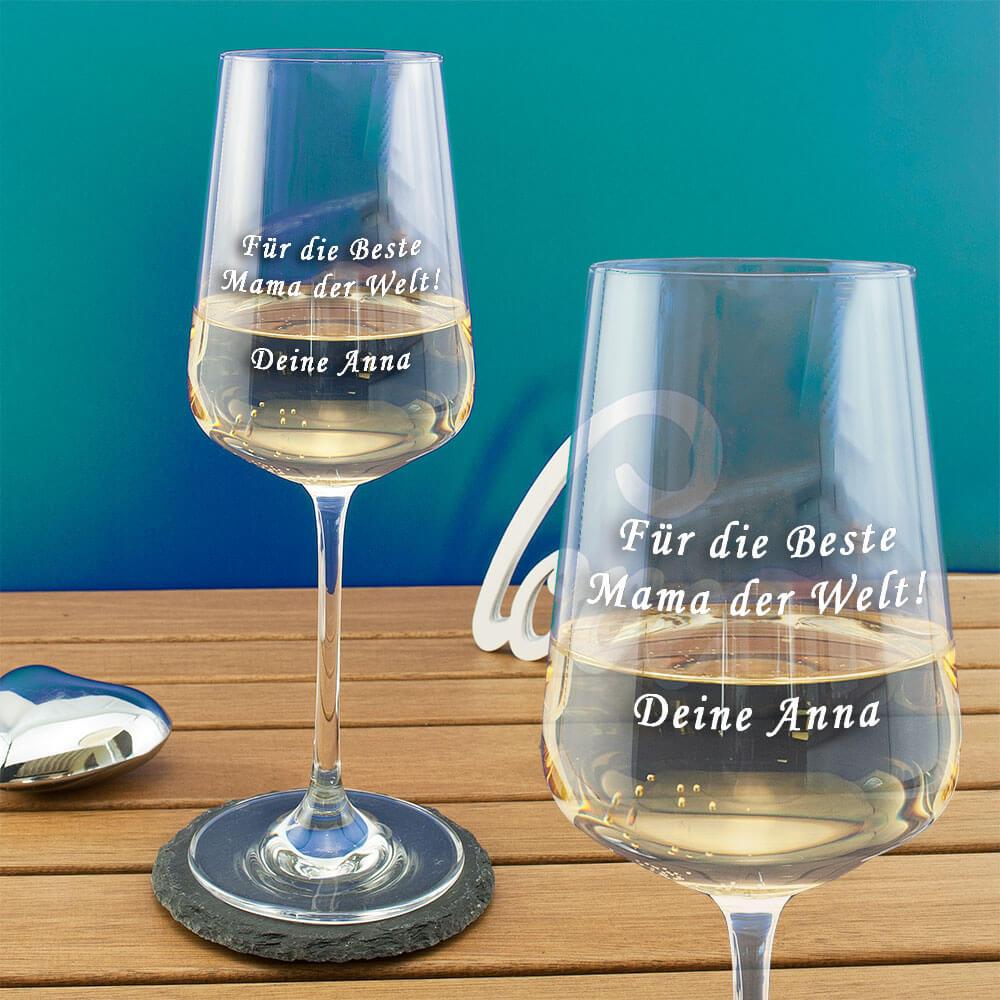 Premium Weißweinglas mit Gravur